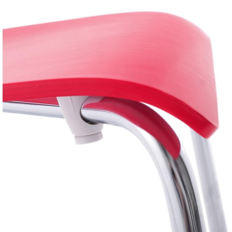 Sedia versatile legno OUST e metallo cromato (rosso) - image 16881