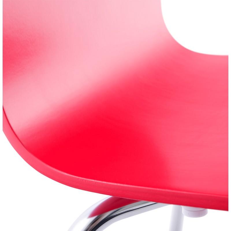 Sedia versatile legno OUST e metallo cromato (rosso) - image 16882
