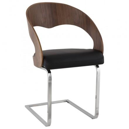 Chaise contemporaine LOING (noyer et noir)
