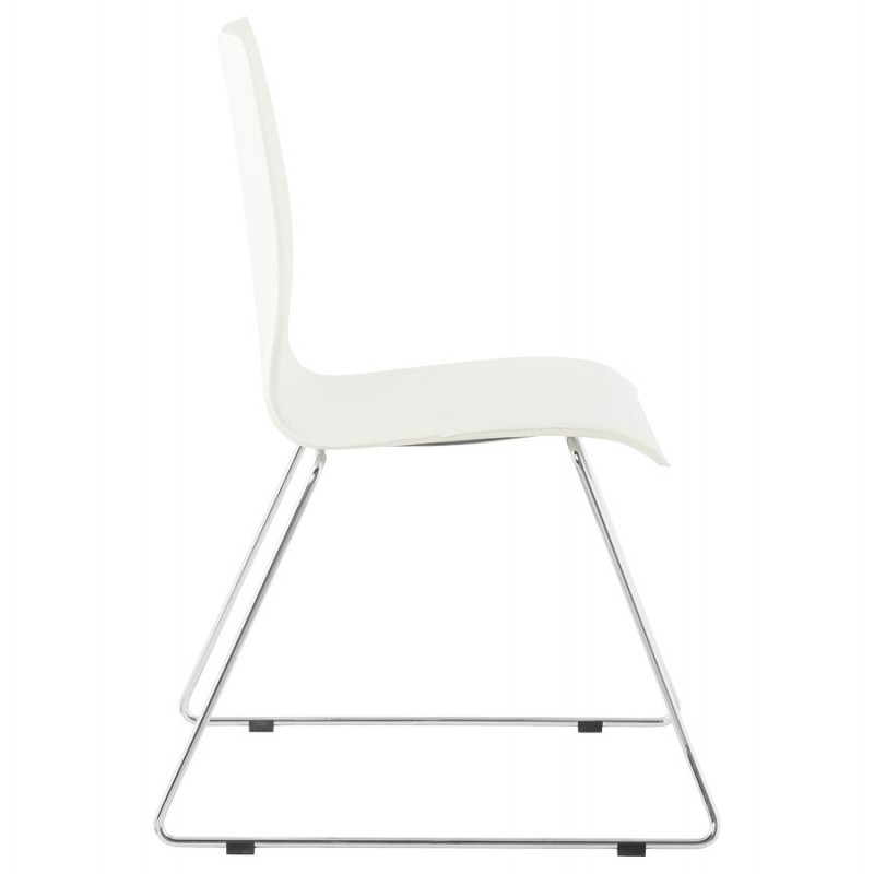 Somme design chair in polyurethane and chrome metal white for Chaise metal et cuir