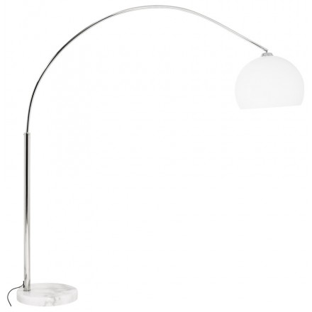 MOEROL SMALL design floor chrome steel lamp (average and white)