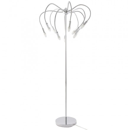Design floor lamp 10 arm flexible ROCHE in chromed steel (chrome)