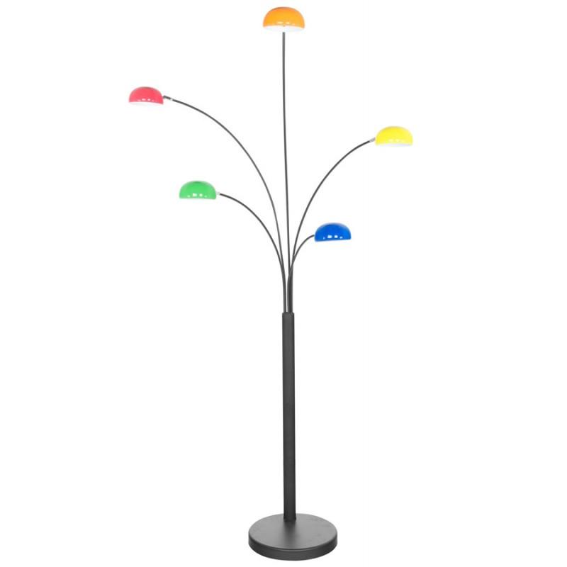 Lampe sur pied design 5 abat-jours ROLLIER en métal peint (multicolore) - image 17112