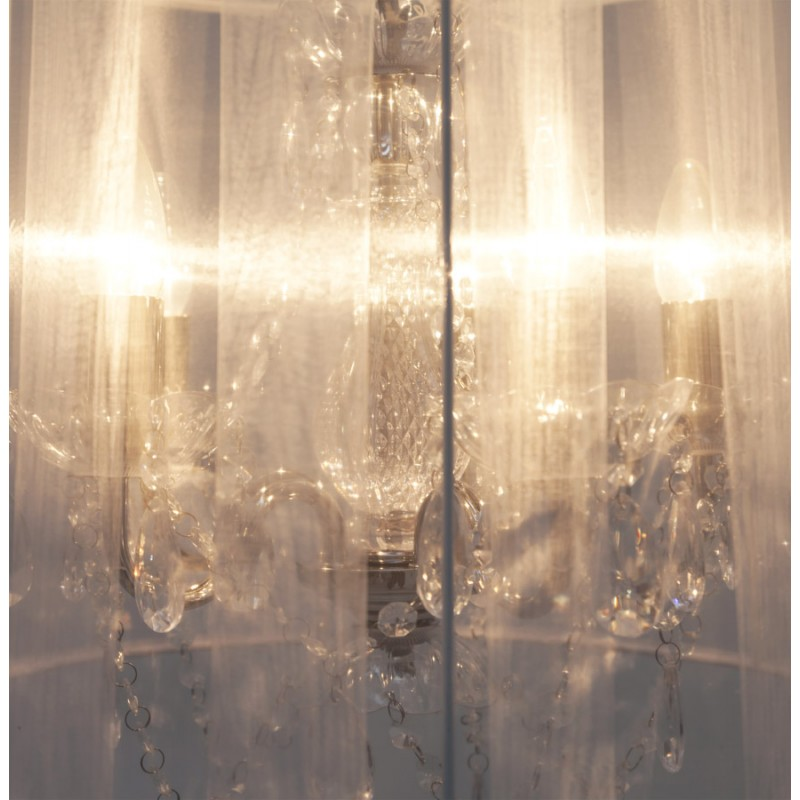Lampe à suspension design ALOUETTE en tissu (blanc) - image 17194