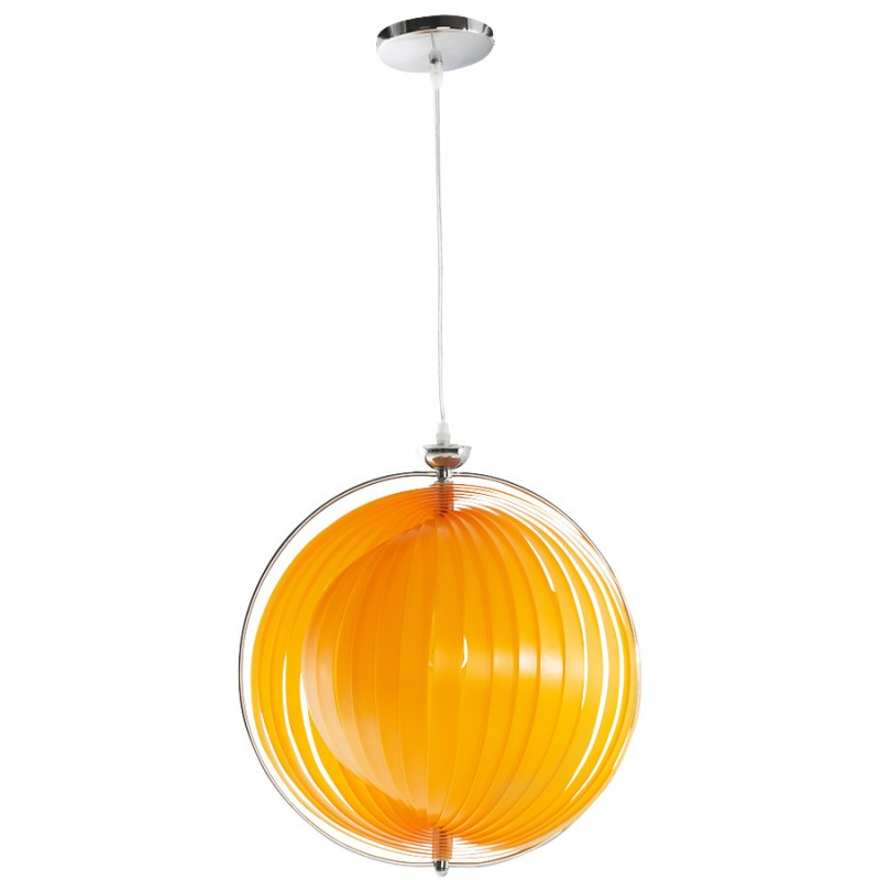 Lampe suspension design moineau en m tal orange for Lampe suspension design