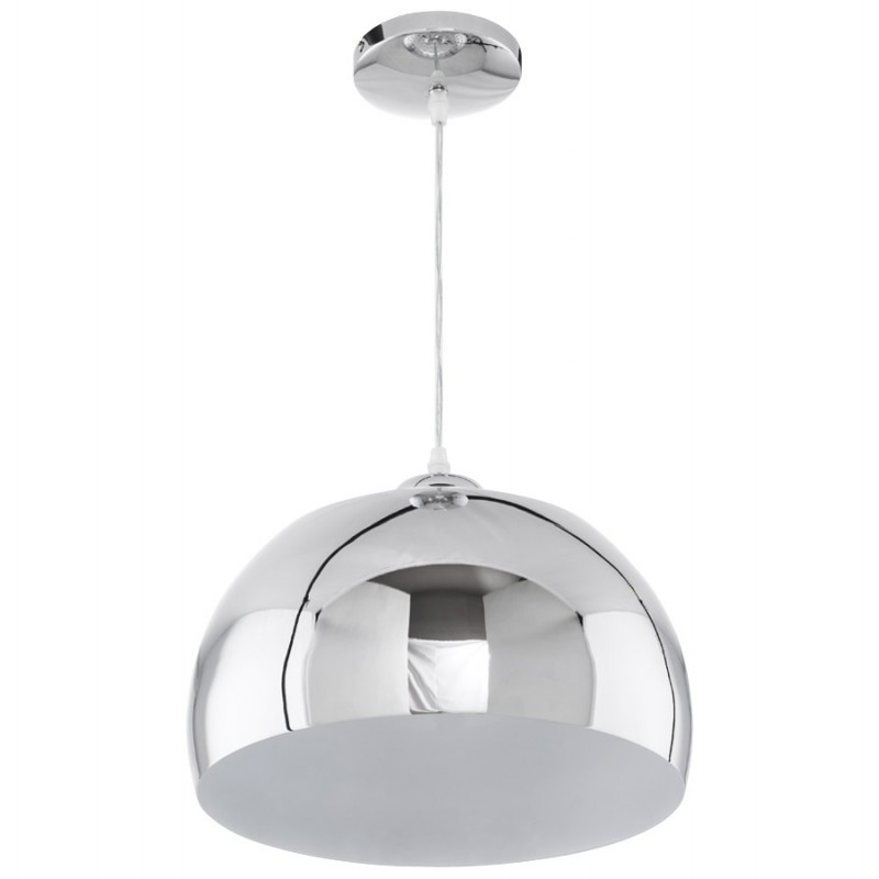 Lampe suspension design arrenga en m tal chrom for Lampe suspension design