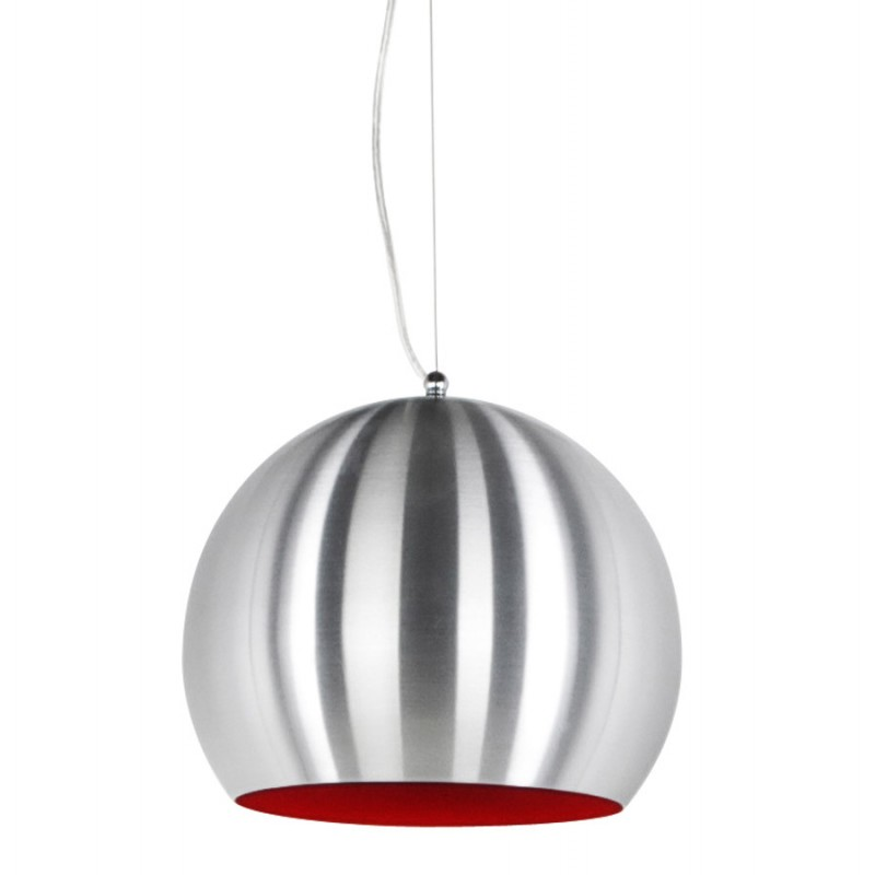 lampe suspension design argus en m tal acier bross et rouge. Black Bedroom Furniture Sets. Home Design Ideas