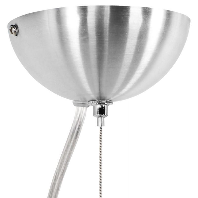 Lampe à suspension design ARGUS en métal (acier brossé et rouge) - image 17270