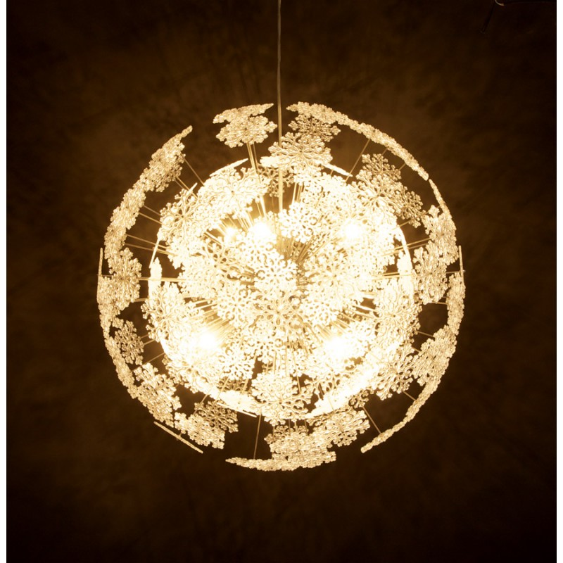 Lampe suspension design anabe en m tal chrom for Lampe suspension design