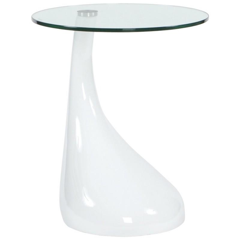 Console ou table d'appoint TARN en fibre de verre trempé (blanc)