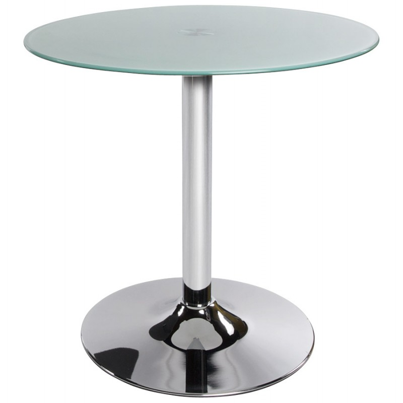 Table ronde vinyl en m tal et verre tremp blanc - Table ronde verre trempe ...
