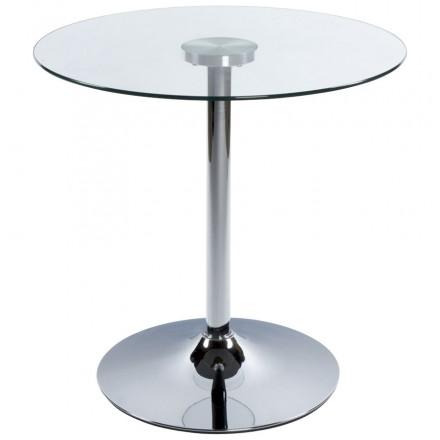 Table ronde VINYL en métal et verre trempé (transparent chromé)