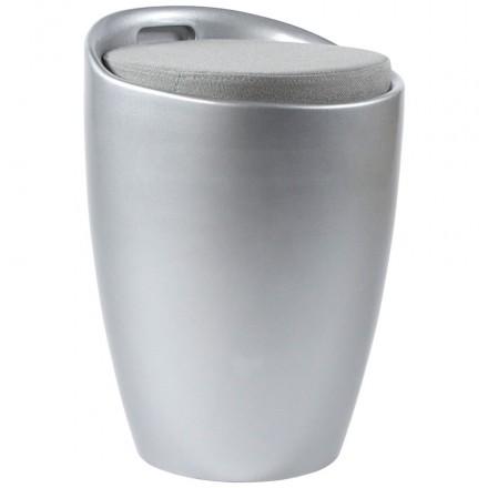 Tabouret coffre YONNE en ABS (matière plastique résistante) (argent)