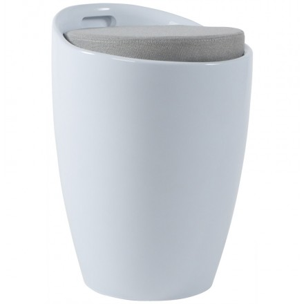 Tabouret coffre YONNE en ABS (matière plastique résistante) (blanc)