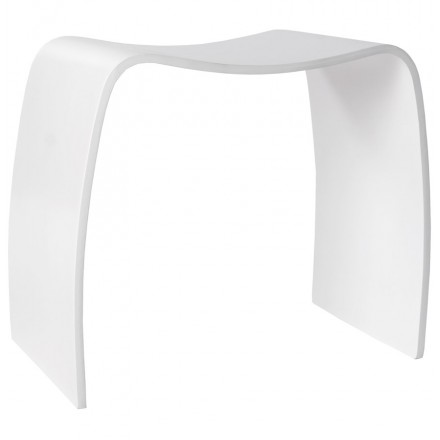 Low stool MEUSE wooden painted (white)