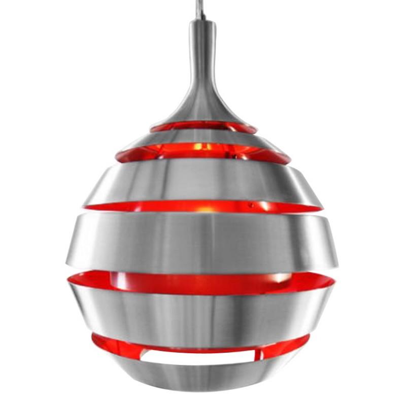 Lampe suspendue design TROGON en métal (rouge et argent) - image 18097