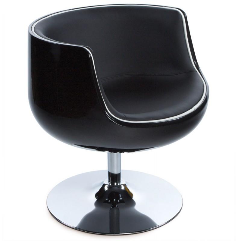 fauteuil design tarn rotatif noir. Black Bedroom Furniture Sets. Home Design Ideas