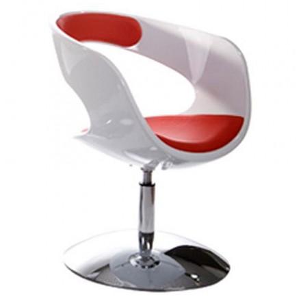 Design-Stuhl RHIN in ABS (hochfesten Polymer) (weiß und rot)