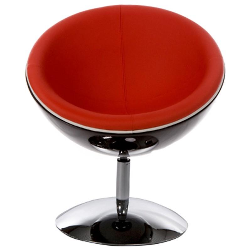 Fauteuil design rotatif GAROE en polyuréthane (noir et rouge) - image 18351