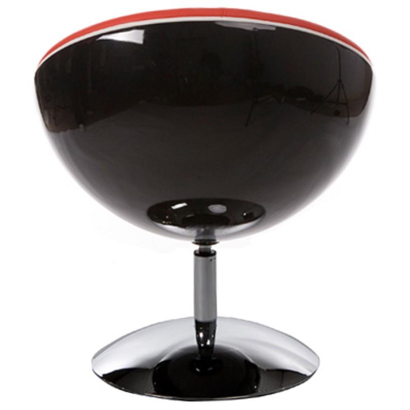 Fauteuil design rotatif GAROE en polyuréthane (noir et rouge) - image 18353