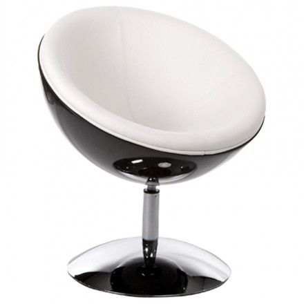 Design rotating armchair GAROE in polyurethane (black and white)