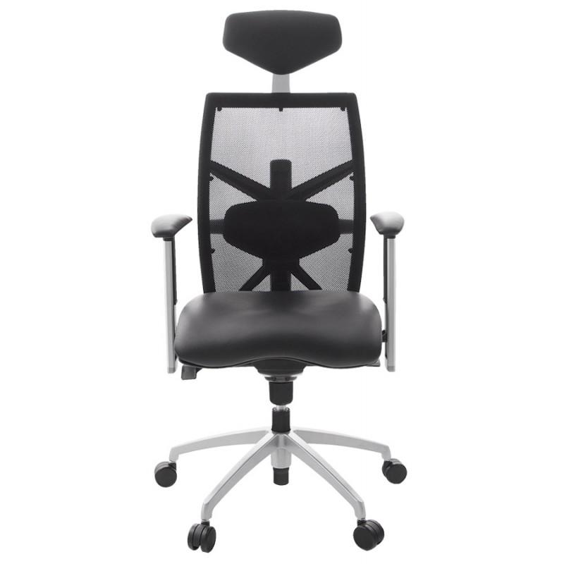 fauteuil de bureau coquette en polyur thane et tissu maille noir. Black Bedroom Furniture Sets. Home Design Ideas
