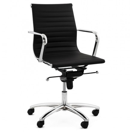 COURIS rotary office armchair in polyurethane (black)