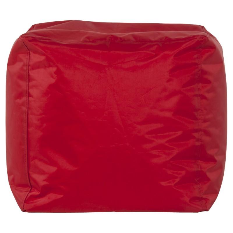 Pouf carré CALANDRE en textile (rouge) - image 18694
