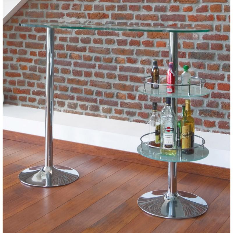 Meuble bar design BORA BORA en verre et métal chromé (transparent) - image 19808