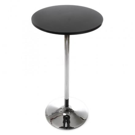 Lato tavolo alto BALEARES legno e metallo cromato (Ø 60 cm) (nero)