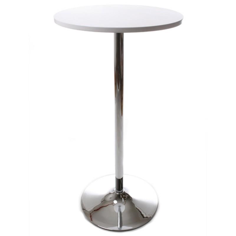 Side table high BALEARE wood and chrome metal (Ø 60 cm) (white) - image 19821