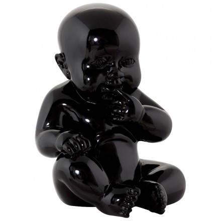 Estatuilla forma bebé KISSOUS fibra de vidrio (negro)