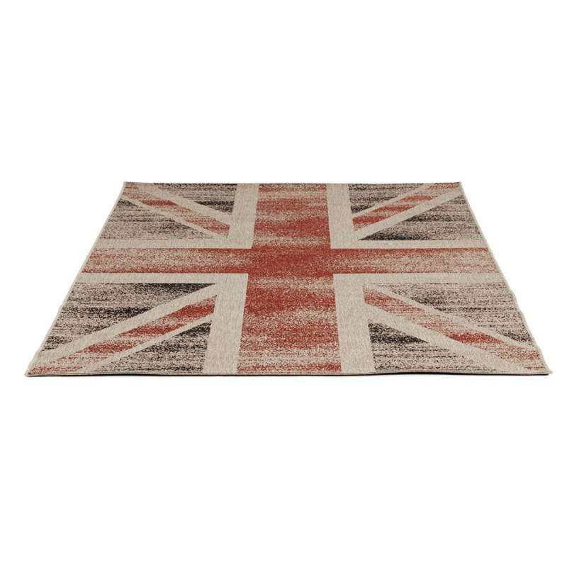 Alfombras contemporáneas y diseño bandera UK rectangular modelo pequeño (170 X 120) (negro, rojo, blanco) - image 20422
