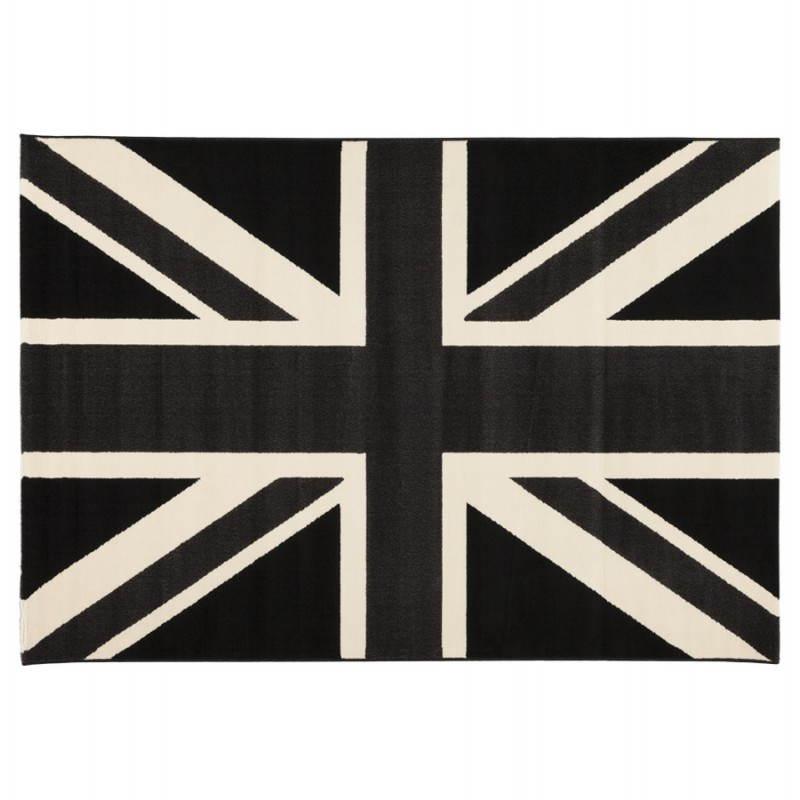 Tapis contemporain et design LARA rectangulaire drapeau UK (noir, blanc) - image 20464