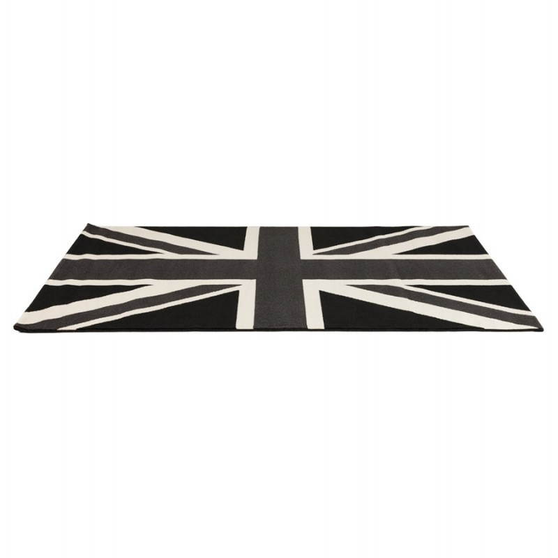 Tapis contemporain et design LARA rectangulaire drapeau UK (noir, blanc) - image 20466