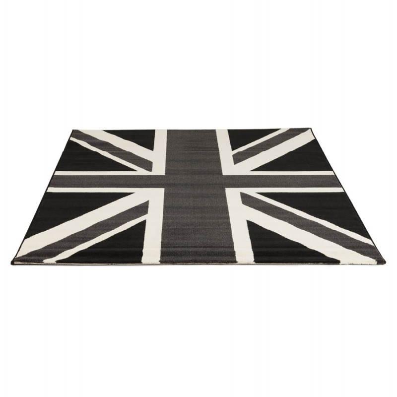 Tapis contemporain et design LARA rectangulaire drapeau UK (noir, blanc) - image 20467