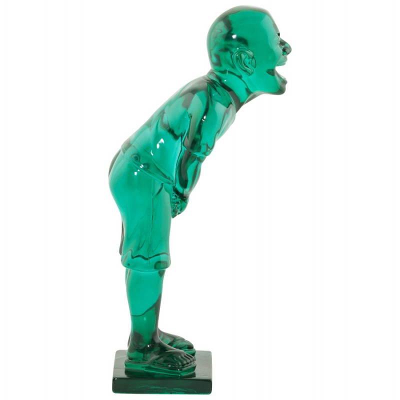 Estatua sonriente MOUSSON de fibra de vidrio con forma de muñeco de nieve (verde) - image 20547