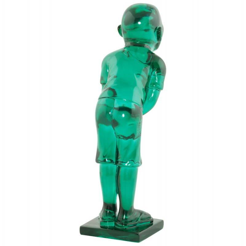 Estatua sonriente MOUSSON de fibra de vidrio con forma de muñeco de nieve (verde) - image 20548
