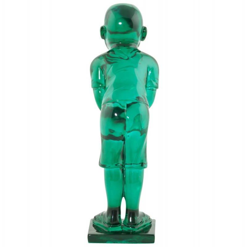 Estatua sonriente MOUSSON de fibra de vidrio con forma de muñeco de nieve (verde) - image 20549