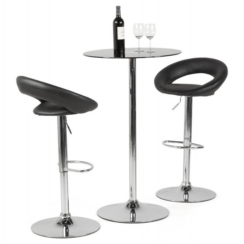 Contemporary round and adjustable bar stool IRIS (black) - image 20624