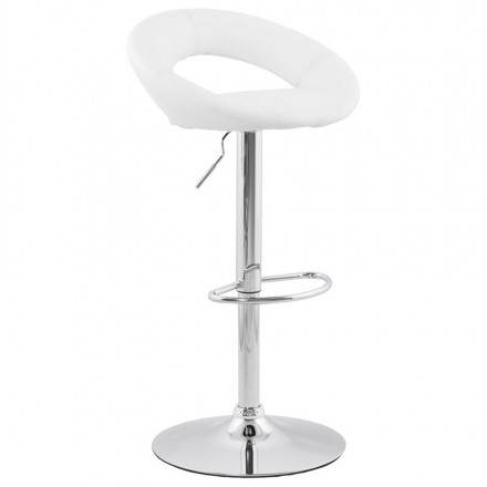 Contemporary round and adjustable bar stool IRIS (white)
