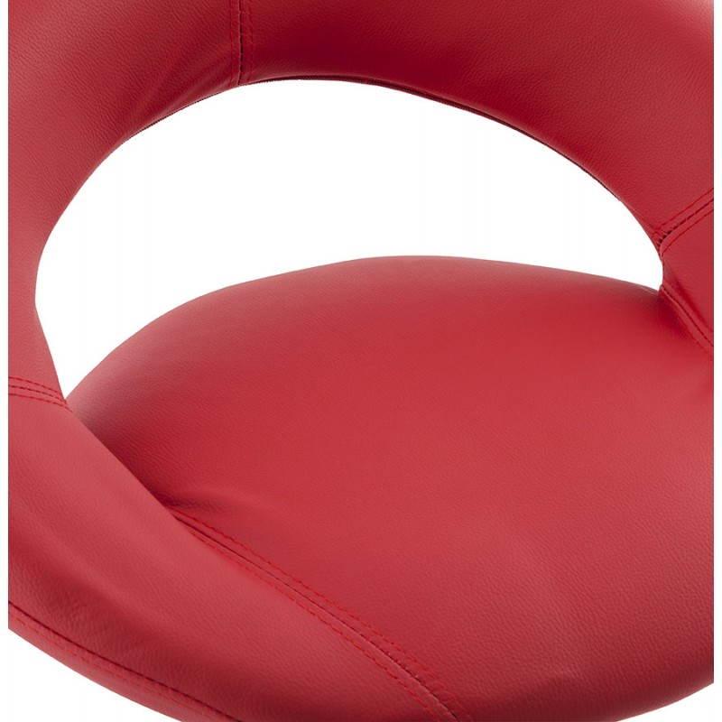 Tabouret de bar rond contemporain rotatif et réglable IRIS (rouge) - image 20650
