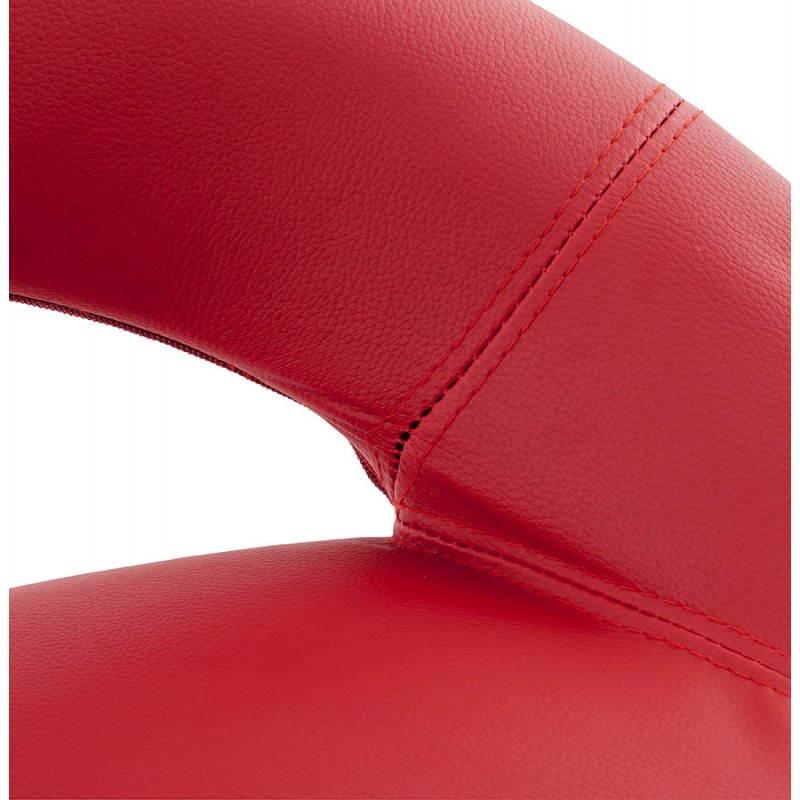 Tabouret de bar rond contemporain rotatif et réglable IRIS (rouge) - image 20652