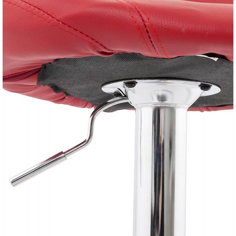Tabouret de bar rond contemporain rotatif et réglable IRIS (rouge) - image 20654