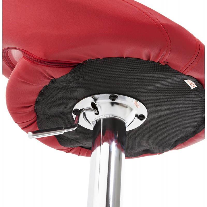 Tabouret de bar rond contemporain rotatif et réglable IRIS (rouge) - image 20655