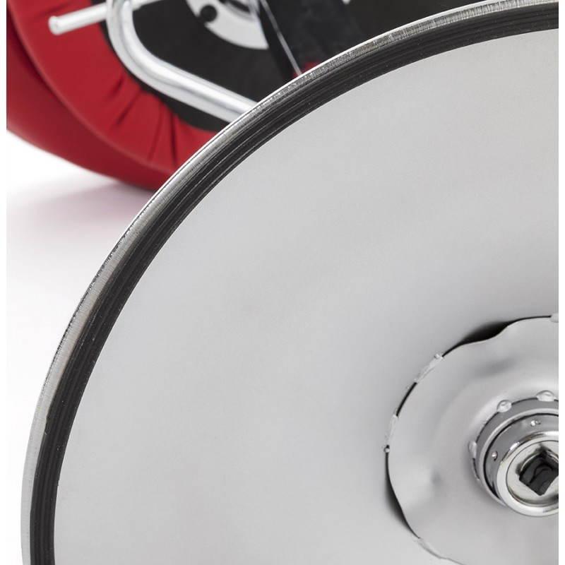 Tabouret de bar rond contemporain rotatif et réglable IRIS (rouge) - image 20659