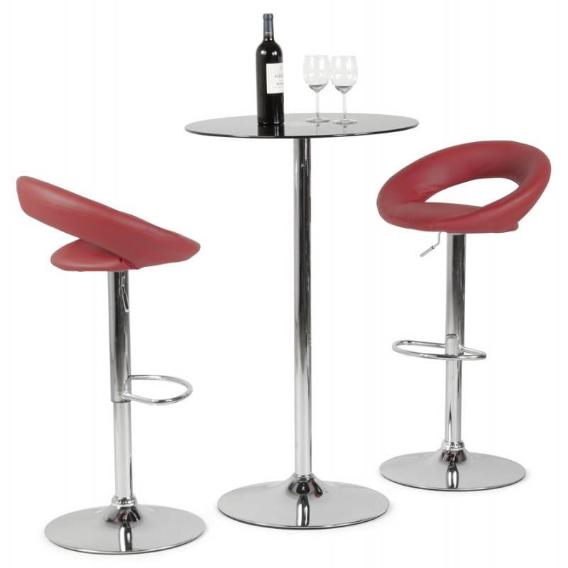 Tabouret de bar rond contemporain rotatif et réglable IRIS (rouge) - image 20662