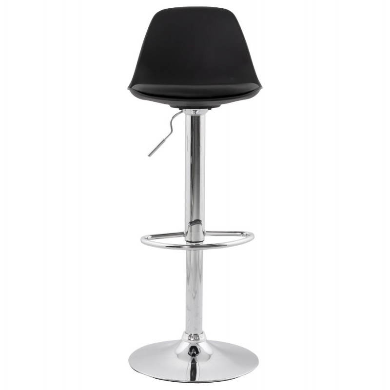Tabouret de bar rond contemporain rotatif et r glable robin noir for Tabouret bar contemporain