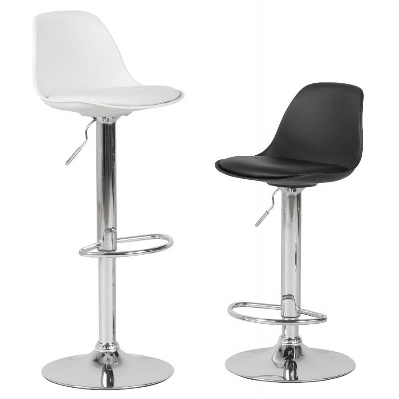 tabouret de bar rond contemporain rotatif et r glable robin noir. Black Bedroom Furniture Sets. Home Design Ideas