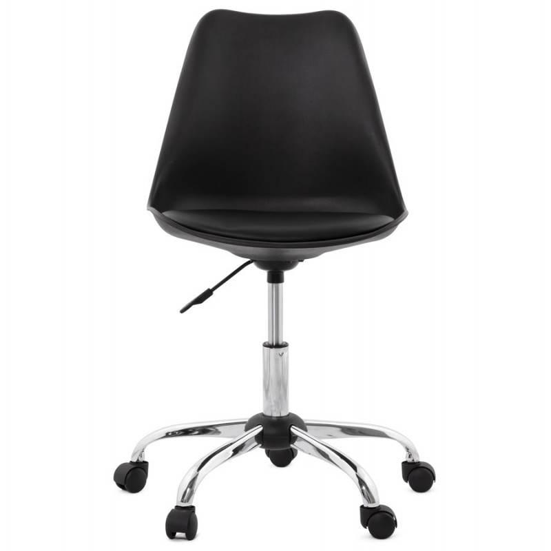 Chaise de bureau design PAUL en polyuréthane et métal chromé (noir) - image 20697